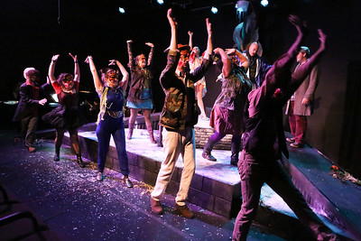 """The cast sings """"It's You Who Makes Me Young,"""" in CELEBRATION, New Line Theatre, 2016. Photo credit: Jill Ritter Lindberg."""
