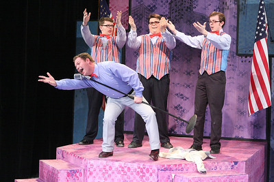 "Mike Dowdy as Baldwin Blandish, and The Whiffles (Evan Fornachon, Christopher Strawhun, Devon A.A. Norris), singing ""This Amazing Offer,"" in New Line Theatre's ""Cry-Baby."" Photo credit: Jill Ritter Lindberg."