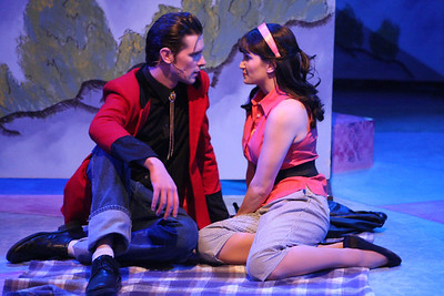 "Ryan Foizey as Wade ""Cry-Baby"" Walker and Taylor Pietz as Allison Vernon-Williams in New Line Theatre's ""Cry-Baby."" Photo credit: Jill Ritter Lindberg."