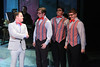 """Mike Dowdy as Baldwin Blandish, and The Whiffles (Devon A.A. Norris, Christopher Strawhun, Evan Fornachon, in New Line Theatre's """"Cry-Baby."""" Photo credit: Jill Ritter Lindberg."""