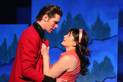 "Ryan Foizey as Wade ""Cry-Baby"" Walker and Taylor Pietz as Allison Vernon-Williams, singing ""Girl, Can I Kiss You With Tongue?"" in New Line Theatre's ""Cry-Baby."" Photo credit: Jill Ritter Lindberg."