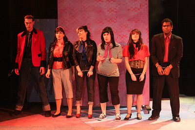 "The Drapes -- Ryan Foizey as Wade ""Cry-Baby"" Walker, Taylor Pietz as Allison Vernon-Williams, Sarah Porter as Hatchet Face, Marcy Wiegert as Pepper, Chrissy Young as Wanda, and Ari D. Scott as Dupree -- in the Act I finale, ""You Can't Beat the System,"" in New Line Theatre's ""Cry-Baby."" Photo credit: Jill Ritter Lindberg."