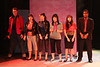 """The Drapes -- Ryan Foizey as Wade """"Cry-Baby"""" Walker, Taylor Pietz as Allison Vernon-Williams, Sarah Porter as Hatchet Face, Marcy Wiegert as Pepper, Chrissy Young as Wanda, and Ari D. Scott as Dupree -- in the Act I finale, """"You Can't Beat the System,"""" in New Line Theatre's """"Cry-Baby."""" Photo credit: Jill Ritter Lindberg."""