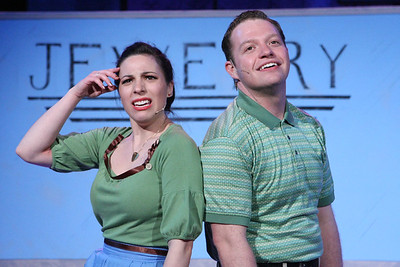 "Terrie Carolan as Lenora Frigid and Mike Dowdy as Baldwin Blandish, singing ""All in My Head,"" in New Line Theatre's ""Cry-Baby."" Photo credit: Jill Ritter Lindberg."