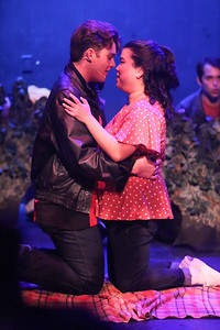 """Caleb Miofsky as Cry-Baby and Grace Langford as Allison, singing """"Girl, Can I Kiss You with Tongue?"""" in CRY-BABY, New Line Theatre, 2019. Photo credit: Jill Ritter Lindberg."""
