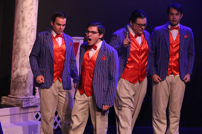 """The Whiffles -- (l-r) Stephen Henley, Jake Blonstein, Christopher Strawhun, and Ian McCreary, singing """"This Amazing Offer"""" in CRY-BABY, New Line Theatre, 2019. Photo credit: Jill Ritter Lindberg."""