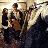 "Deirdre Graham, left, and Sara Hildebrand, look through some of the finished costumes during class.<br /> University of Colorado students do class work in the costume technology class on Friday.<br />  For more photos and a video, go to  <a href=""http://www.dailycamera.com"">http://www.dailycamera.com</a>.<br /> Cliff Grassmick / October 21, 2011"