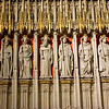 Stone statues of saints inside York Minster cathedral York UK