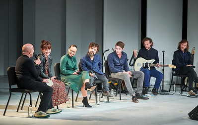 Sept.28,  2019 - New York, NY   The Guggenheim Museum's Works and Process series presents The New Group: Cyrano by Erica Schmidt, with Peter Dinklage  Prior to the New Group's world premiere of Cyrano, director Erica Schmidt, actor Peter Dinklage, and composer Aaron Dessner illuminate the creative process behind the new adaptation of the classic tale Cyrano de Bergerac by Edmond Rostand with  music by Aaron Dessner and Bryce Dessner of the National, lyrics by Matt Berninger of the National and Carin Besser, and choreography by Jeff and Rick Kuperman  Actors- peter Dinklage, Blake Jenner, Jasmine Cephas Jones  Photographer- Robert Altman Post-production- Robert Altman