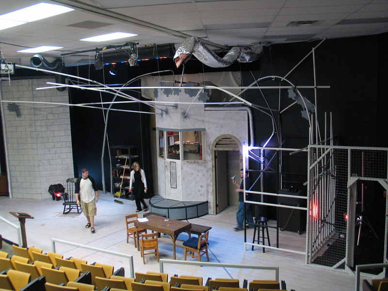 the set before our last show, it was built directly into the back wall of the auditorium, possibly the smallest our backstage area has ever been.