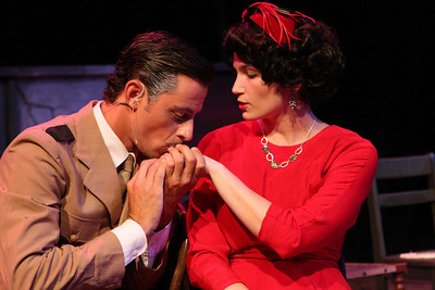Todd Schaefer and and Taylor Pietz in New Line Theatre's EVITA. Photo credit: Jill Ritter