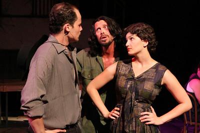 Zachary Allen Farmer, John Sparger, and Taylor Pietz in New Line Theatre's EVITA. Photo credit: Jill Ritter