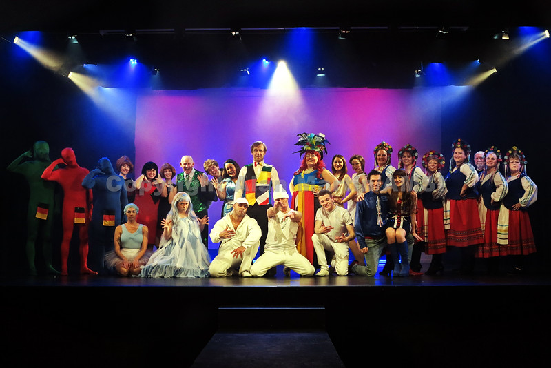 Southport UK - 16th February 2015.  All Rights Reserved. No unpaid usage without prior written consent.  Southport Spotlights production of Eurobeat Almost Eurovision.