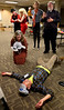 "Bob Raines--Montgomery Media / <br /> Kenny Itchibutt (Stu Weitz) is found murdered after a power blackout during a rehearsal for the Everybody's Theater Co. dinner theater production, ""Murder at the Bingo Hall."""