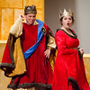 Zachary Freirichs as King Sextimus and Ryan O'Neil as Queen Aggravain perform a scene in the Fitchburg High production of 'Once Upon a Mattress' on Saturday afternoon. SENTINEL & ENTERPRISE / Ashley Green