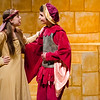 Logan Cormier as Lady Larken and Grayson Chesbrough as Sir Harry perform a scene in the Fitchburg High performance of 'Once Upon a Mattress' on Saturday afternoon. SENTINEL & ENTERPRISE / Ashley Green