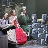 """Chelmsford High is a host for the METG theatre festival of one-act plays. Fitchburg High performs """"Something's Rotten in the State of Denmark."""" (This is from video screen.) From left, Katrina French, Logan Cormier, Logan Miles, and Hannay Dunton. (SUN/Julia Malakie)"""