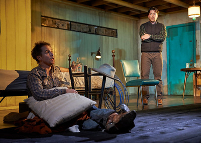 New York, New York - Sept. 13, 2015  Sam Rockwell and Tom Pelphrey in the Broadway production of Sam Shepard's play  Fool for Love , at the Manhattan Theater Club's Friedman Theater  Credit: Robert Altman