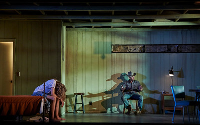 New York, New York - Sept. 13, 2015  Nina Arianda and Sam Rockwell in the  Broadway production of Sam Shepard's play  Fool for Love , at the Manhattan Theater Club's Friedman Theater  Credit: Robert Altman