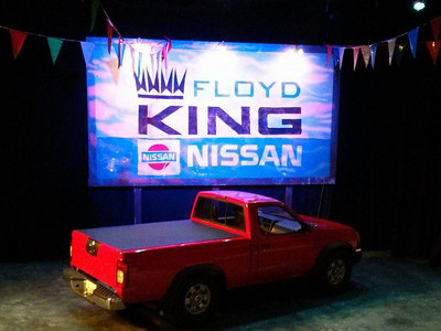 The set for New Line Theatre's HANDS ON A HARDBODY, 2014, designed by Rob LIppert. Photo credit: Jill Ritter Lindberg.