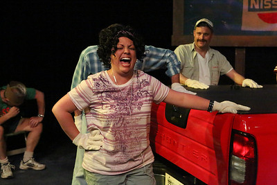 Anna Skidis as Norma Valverde and Jeffrey M. Wright as Benny Perkins, in New Line Theatre's HANDS ON A HARDBODY, 2014. Photo credit: Jill Ritter Lindberg.