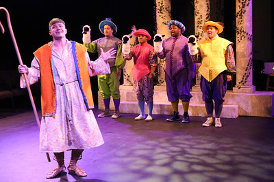 """Clayton Humburg as Musidorus the Shepherd, singing """"Mad About You,"""" with his sheep, in New Line Theatre's HEAD OVER HEELS, 2020. Photo credit: Jill Ritter Lindberg."""
