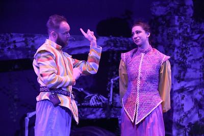 Aaron Allen as Dametas and Jaclyn Amber as his daughter Mopsa, in New Line Theatre's HEAD OVER HEELS, 2020. Photo credit: Jill Ritter Lindberg.