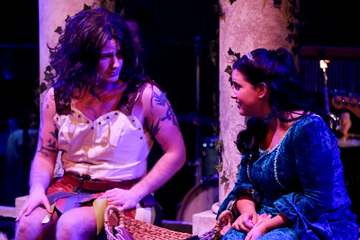 Clayton Humburg (left) as the Amazon Cleophila, and Melissa Felps as Princess Philoclea, in New Line Theatre's HEAD OVER HEELS, 2020. Photo credit: Jill Ritter Lindberg.