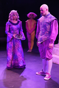 Carrie Wenos Priesmeyer as Queen Gynecia, and Zachary Allen Farmer as King Basilius, in New Line Theatre's HEAD OVER HEELS, 2020. Photo credit: Jill Ritter Lindberg.