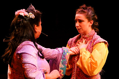 Grace Langford (left) as Princess Pamela,  and Jaclyn Amber as her handmaiden Mopsa, in New Line Theatre's HEAD OVER HEELS, 2020. Photo credit: Jill Ritter Lindberg.