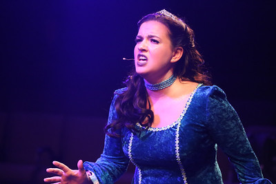 "Melissa Felps as Princess Philoclea, singing ""Good Girl,"" in New Line Theatre's HEAD OVER HEELS, 2020. Photo credit: Jill Ritter Lindberg."