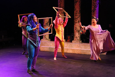 """Grace Langford (right) as Princess Pamela, singing """"Beautiful,"""" with Michelle Sauer, Sara Rae Womack, and Alyssa Wolf, in New Line Theatre's HEAD OVER HEELS, 2020. Photo credit: Jill Ritter Lindberg."""