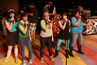 """Rob's Ex-Girlfriends -- from left to right, Taylor Pietz, Terrie Carolan, Sarah Porter, Chrissy Young, Talichia Noah -- singing """"Desert Island All-Time Top 5 Breakups"""" in New Line Theatre's """"High Fidelity,"""" 2012. Photo credit: Jill Ritter Lindberg."""