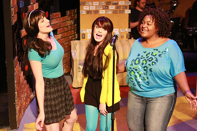 """Taylor Pietz, Chrissy Young, and Talichia Noah singing """"The Last Real Record Store on Earth"""" in New Line Theatre's """"High Fidelity,"""" 2012. Photo credit: Jill Ritter Lindberg."""