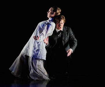 April 16, 2019 - New York, NY -  HILMA by Benjamin Staern and Mira Bartov with Fredrik and Mette af Klint  U.S. premiere of a chamber opera about Swedish artist Hilma af Klint, inspired by her unique body of spiritual works. Directed by librettist Mira Bartov, HILMA highlights pivotal moments from af Klint's life, and features costumes by Ulrika Lilliehöök and a set designed by Fredrik Glahns. The cast includes Mette af Klint as the enigmatic Hilma; Fredrik af Klint, a relative of the artist, as Rudolf Steiner; and Alma Adolfsson, in a prerecorded performance, as Hilma's little sister, Hermina. Composer Benjamin Staern connects tones and timbres with the colors and shapes of af Klint's abstract works. Pianist Stefan Lindgren, violinist Victoria Stjerna, and cellist Andreas Lavotha provide accompaniment.  © Robert Altman  Photographer- Robert Altman Post-production- Robert Altman