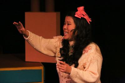 """Martha (Grace Seidel) sings """"Kindergarten Boyfriend,"""" in New Line Theatre's HEATHERS, 2015. Photo credit: Jill Ritter Lindberg."""