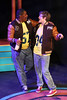 "Ram (Omega Jones) and Kurt (Clayton Humburg) sing ""Blue,"" in New Line Theatre's HEATHERS, 2015. Photo credit: Jill Ritter Lindberg."