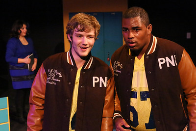 Kurt (Clayton Humburg) and Ram (Omega Jones), in New Line Theatre's HEATHERS, 2015. Photo credit: Jill Ritter Lindberg.