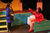 Veronica (Anna Skidis) confronts Heather Chandler (Sicily Mathenia), in New Line Theatre's HEATHERS, 2015. Photo credit: Jill Ritter Lindberg.