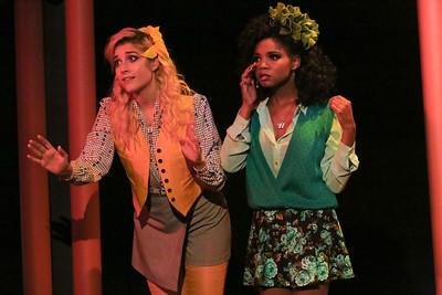 (l-r) Heather McNamara (Larissa White) and Heather Duke (Cameisha Cotton),  in New Line Theatre's HEATHERS, 2015. Photo credit: Jill Ritter Lindberg.