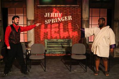 Satan (Matt Pentecost) confronts Jesus (Marshall Jennings) in New Line Theatre's JERRY SPRINGER THE OPERA, 2015. Photo credit: Jill Ritter Lindberg.