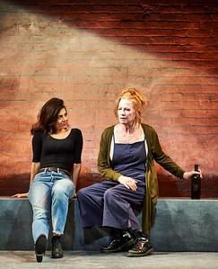 Jan. 18, 2019 - New York, NY - Colt Coeur presents JOAN at HERE, by Stephen Belber, Directed by Adrienne Campbell-Holt. Cast: Johanna Day, Adam Harrington & Marjan Neshat  JOAN is about the life of a woman named Joan.   She is restless, loving, maddening, gracious.   She has a brother, a lover, a mother, a child.   She lives.  She dies.   scenic design: Andrew Moerdyk // costumes: Emily Rebholz lighting: Grant Yeager // sound design: Amy Altadonna  projections: Kate Ducey // properties: Kelvin Pater  production management & technical direction: Emma Johnson   Line producers: Ayana Parker Morrison & Madeleine Goldsmith   Production Stage Manager: Carolynn Richer // Assistant Stage Manager: Katie Cairns  Casting: Anne Davison  // Assistant director: Caroline Sarkozi  Videography: Crystal Arnette/Adventure We Can  // Press: Richard Kornberg   Photographer- Robert Altman Post-production- Robert Altman