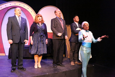 """Kent Coffel and Mara Bollini as the Dindons, Robert Doyle as Georges, Kevin Corpuz as Jean-Michel, and Tielere Cheatem as Jacob, singing """"Cocktail Counterpart""""  in LA CAGE AUX FOLLES, New Line Theatre, 2019. Photo credit: Jill Ritter Lindberg."""