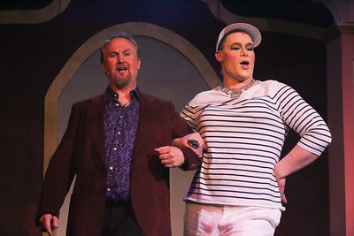 """Zachary Allen Farmer as Albin, and Robert Doyle as Georges, singing """"With You on My Arm""""  in LA CAGE AUX FOLLES, New Line Theatre, 2019. Photo credit: Jill Ritter Lindberg."""