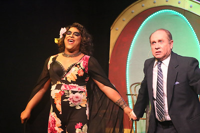 """Dominic Dowdy-Windsor as Chantal and Kent Coffel as M. Dindon, singing """"The Best of Times""""  in LA CAGE AUX FOLLES, New Line Theatre, 2019. Photo credit: Jill Ritter Lindberg."""