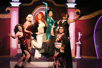 The notorious Cagelles, in LA CAGE AUX FOLLES, New Line Theatre, 2019. Photo credit: Jill Ritter Lindberg.