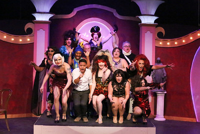 The cast sings the finale, in LA CAGE AUX FOLLES, New Line Theatre, 2019. Photo credit: Jill Ritter Lindberg.