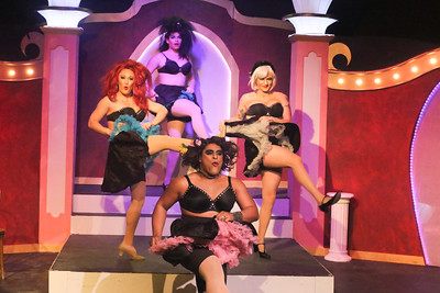 The notorious Cagelles dancing the can-can, in LA CAGE AUX FOLLES, New Line Theatre, 2019. Photo credit: Jill Ritter Lindberg.