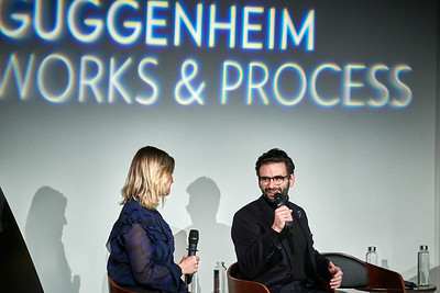 Oct. 20,  2019 - New York, NY   The Guggenheim Museum's Works and Process series present Two River Theater: Love in Hate Nation by Joe Iconis, with John Simpkins  Writer Joe Iconis and director John Simpkins discuss the turbulent rock romance, Love in Hate Nation, set in a 1960s juvenile hall, and cast members perform highlights prior to its world premiere at the Two River Theater with moderator Laura Heywood.  Laurie Heywood Joe Iconis Mayte Natalio John Simpkins  Cast- Sydney Farley, Amina Faye, Jasmine Forsberg, Lauren Marcus, Kelly McIntyre, Lena Skeele, Emerson Mae Smith, Tatania Wechsler  Photographer- Robert Altman Post-production- Robert Altman