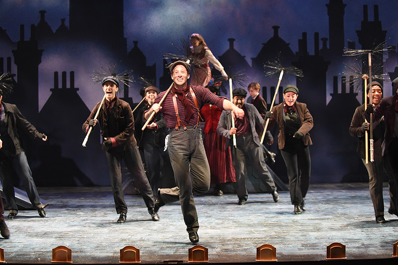 Rhett Guter (Bert) and the cast of Olney Theatre Center's Mary Poppins. (Photo: Stan Barouh)